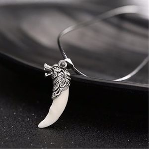 Jewelry - Silver Dragon Wolf Head White Fang Tooth Necklace